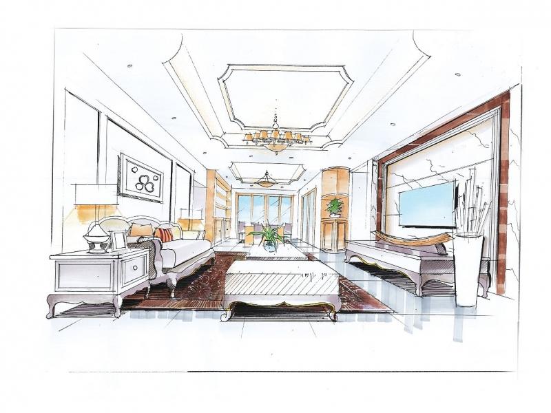 【角美建晴建筑设计工作室】建晴设计套餐-室内手绘1,个性服务>>网络手绘>>室内手绘