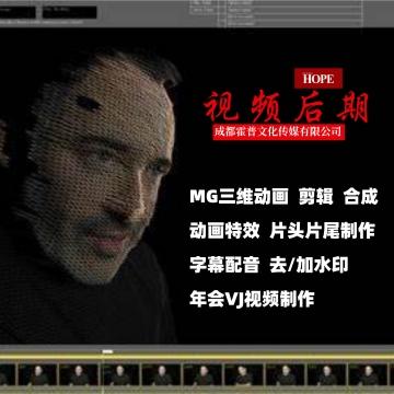 视频剪辑后期制作MG三维3D动画企业产品年会宣传片广告片
