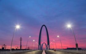 【蓝天白裙少女】新首钢大桥再现朝霞美景,今晨摄影师记录下精彩时刻